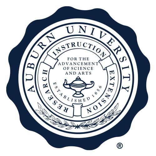 One color scalloped Auburn University seal
