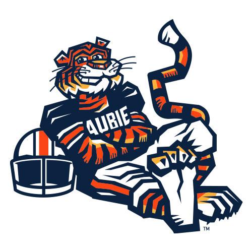 The Original Aubie plays football
