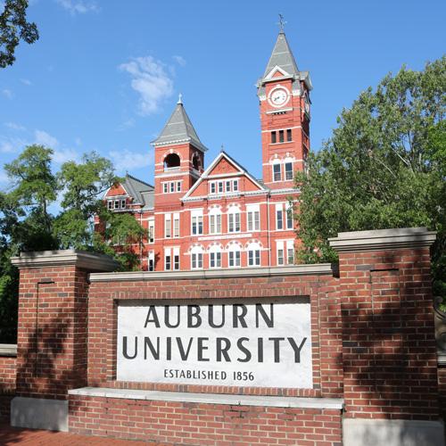 Samford Hall and the Auburn University sign