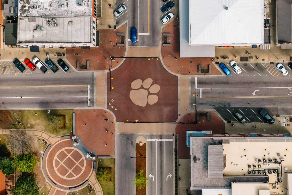 "Overhead view of Toomer's Corner, Auburn's intersection of ""Town and Gown"""